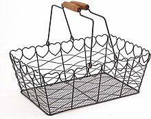 Rectangular Wire Basket Heart-Shaped Retro Rustic