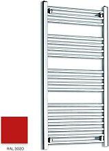 Red 1000mm x 300mm Straight 22mm Towel Rail -