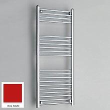 Red 1200mm x 500mm Straight 22mm Towel Rail -