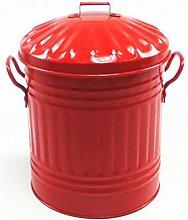 Red 15 Litre Steel Galvanised Dustbin