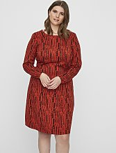 Red Abstract Print Dress - 16