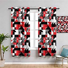 Red and Black Blackout Window Curtains Abstract