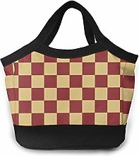 Red and Brown Plaid Pattern Insulated Lunch Bag