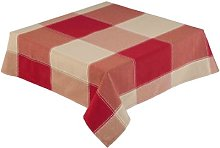 RED and Natural Check Tablecloth 52 x 70 Inch