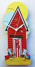 Red Beach Hut Clock - BHR