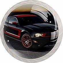 Red Black Car 4 Pieces Crystal Glass Wardrobe