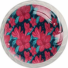 Red Bloomming Flowers Pattern Kitchen Cabinet