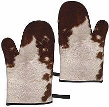 Red Brown Cowhide Oven Mitts,Heat Resistant