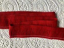 RED Brush Fringe Tassels Textile Cut Pillow