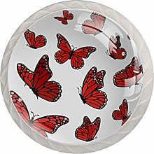 Red Butterflies Flying Cabinet Knobs Knobs for