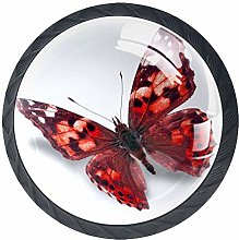 Red Butterfly 4 Pieces Crystal Glass Wardrobe