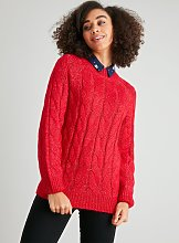Red Cable Knit Jumper - 8