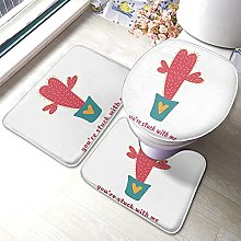Red Cactus Bathmat,Cartoon Cactus in A Pot Cute