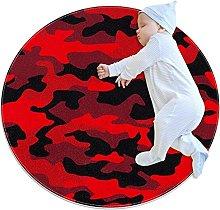 Red camouflage, Round Area Rug Pattern Round