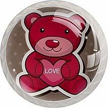 Red Cartoon Bear 4 Pieces Crystal Glass Wardrobe