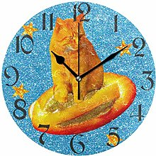 Red Cat Surfing On Bread Wall Clock Silent Non