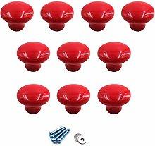 Red Ceramic Round Knobs Cabinet Knob Handle Pull