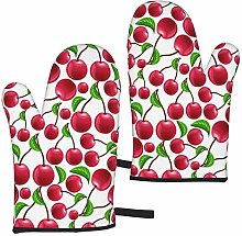 Red Cherries Oven Mitts,Heat Resistant Non-Slip