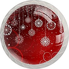 Red Christmas Winter Abstract Snowflakes Pattern
