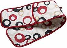 Red Circle Pattern Quilted Double Oven Glove