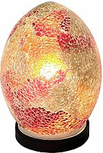 Red Crackle Mosaic Glass Vintage Egg Table Lamp