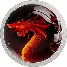 Red Dragon 4 Pieces Crystal Glass Wardrobe Handles