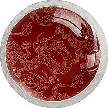 Red Dragon Pattern 4 Pieces Crystal Glass Wardrobe