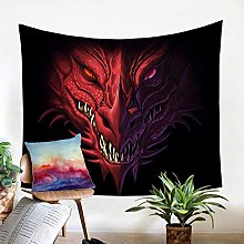 Red Dragon Tapestry Wall Hanging Head Of Angry