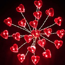 Red Firework Curtain Lights, 2 Pack Heart Shaped