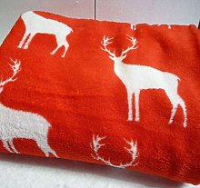 Red Fleece Stag Throw - Reindeer Blanket - Festive