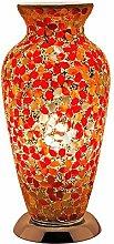 Red Flower Mosaic Glass Vintage Vase Table Lamp