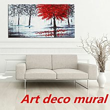 Red Forest Canvas Modern Home Wall Decor Art