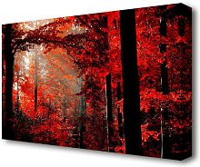Red Forest Delight Forest Canvas Print Wall Art