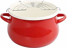Red Fryer with Filter Kitchen Pot Ceramic Stew Pot