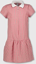 Red Gingham Sporty Collar School Dress - 6 years