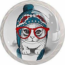 Red Glasses Cat White Crystal Drawer Handles