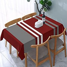 Red Grey And White Stripe Tablecloth,Rectangular