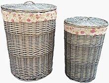 Red Hamper Antique Wash Round Linen Basket Set
