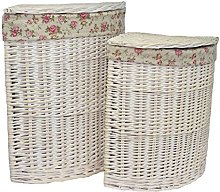 Red Hamper Corner White Wash Laundry Basket with a