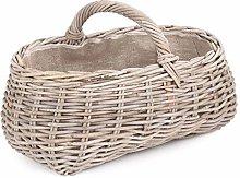 Red Hamper Grey Rattan Market Basket with Hessian