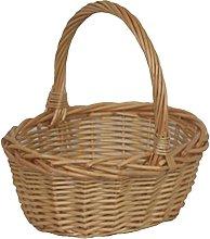 Red Hamper Mini Oval Shopping Basket, Wicker,