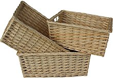 Red Hamper Set of 3 Kitchen Storage Wicker Basket,