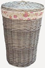 Red Hamper Small Antique Wash Round Linen Basket