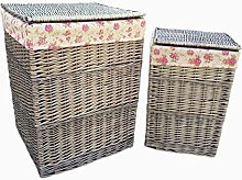 Red Hamper Square Laundry Basket Set With Garden