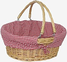 Red Hamper Swing Handle Shopping Basket with Red