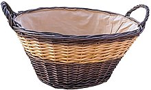 Red Hamper Two Tone Lined Wicker Wash Basket,