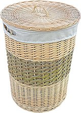 Red Hamper Two Toned Round Wicker Laundry Basket