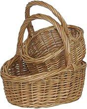 Red Hamper Wicker Shopping Basket, Brown, 17 x 15