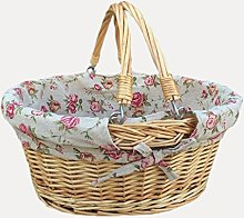 Red Hamper Wicker Shopping Basket, Brown, Red &