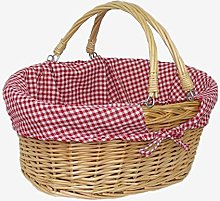 Red Hamper Wicker Shopping Basket, Brown, Rose